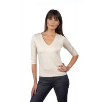 A Nue Ligne Elbow  Sleeve V Neck Boxy Top